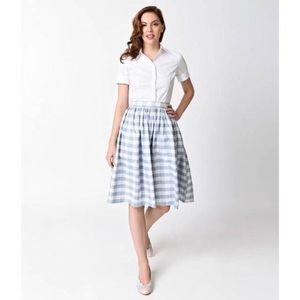 Unique Vintage 1950s Gingham Plaid Full Skirt XS